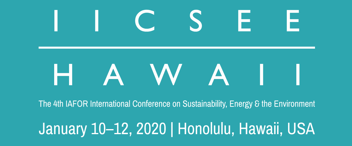 The IAFOR International Conference on Sustainability Energy and the Environment Hawaii (IICSEEHawaii2020) Logo